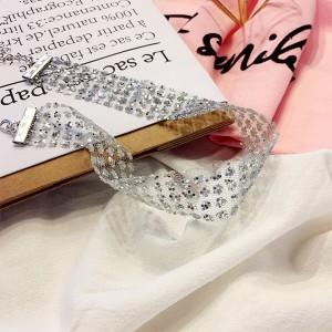 "Silver Sparkly Rhinestone Star Choker Necklace 14.75"" x 0.75"" - 300/Lot"