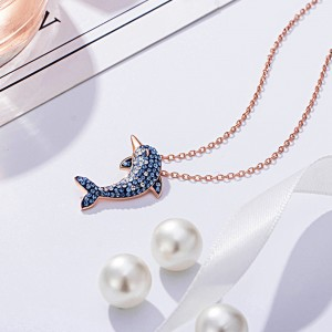 """Rose Gold Dolphin Short Pendant Necklace 17.5"""" - 30/Lot"""