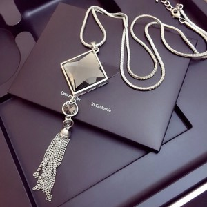 "Silver Diamond Tassel Long Pendant Necklace 30"" - 100/Lot"