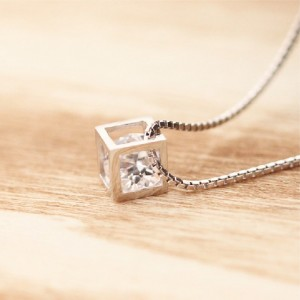 "Silver Diamond Cube Locket Necklace 17.5"" - 60/Lot"