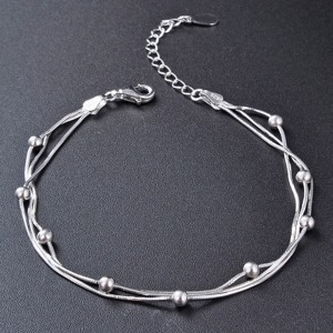 """Silver Material Triple-Layered Beaded Chain & Link Bracelet 8.25"""" - 30/Lot"""