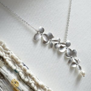 """Bridal Floral Lariat Necklace in Silver 19.5"""" - 100/Lot"""