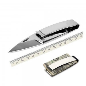 """Premium Stainless Steel Money Clip and Card Holder Concealed Knife (Silver, [13.2cm(5"""")]) [70pcs/Lot]"""