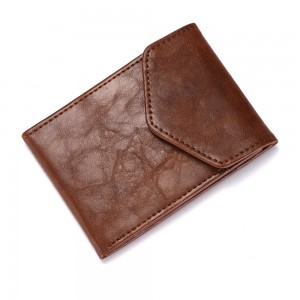 """Durable Slim Polyurethane Leather (PU Leather) Brown Billfold Wallet with Button Closure 11cm x 7.8cm(4.25""""x3"""") [70pcs/Lot]"""