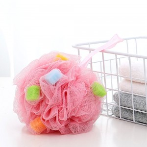 Pink Puff Shaped Loofah Sponge With Grip Strap (100 Pieces/Lot)