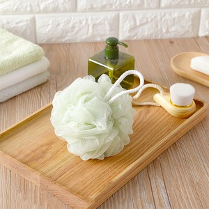 Green Bath Loofah Sponge with Grip Strap (100 Pieces/Lot) (12 x 12 cm/4.5 x 4.5 inches)