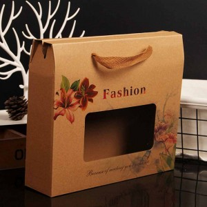 Brown Kraft Floral Apparel Boxes with Window and Handle 10 x 9+2.75 inches - 190 Boxes/Lot