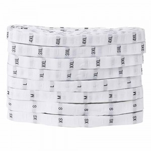 White Polyester Merchandise Clothing Size Label Rolls 0.25 x 1181 inches- 100 Rolls/Lot (1000 Labels/Roll)