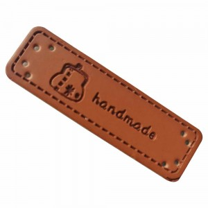 Brown Leather Sew On Store Handmade Labels for Clothing 0.5 x 1.75 inches - 1100 Labels/Lot