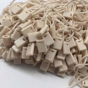 Beige Plastic + Cotton String Hang Tag String Snap Lock Fasteners 7.25 inches - 40 Boxes Snap Locks/Lot (1000 Snap Locks/Box)