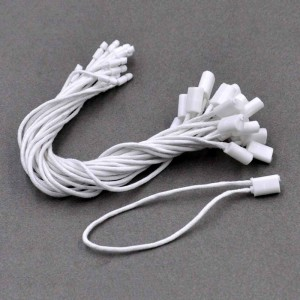 White Plastic + Cotton String Snap Lock Strings for Clothing Tags 7.5 inches - 2200 Snap Locks/Lot