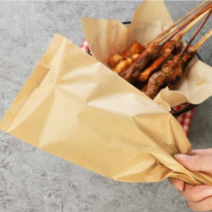 Brown Grease-Proof Take-Out Snack Food Bags 3 Inches x 9.75 Inches (9600 Bags/Lot)