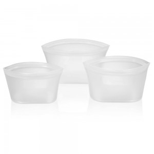 White Leakproof Silicone Reusable Food Storage Bowl Container Set [Set of 3 Sizes] (20 Set/Lot)