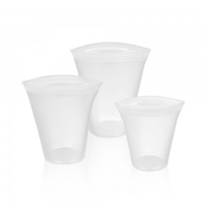 White Reusable Silicone Food Storage Container Top Set [Set of 3 Sizes Small, Medium & Large] (30 set/Lot)