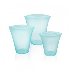 Blue Reusable Silicone Food Storage Container Top Set [Set of 3 Sizes Small, Medium & Large] (30 set/Lot)