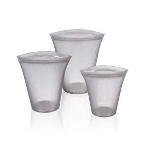 Gray Reusable Silicone Food Storage Container Top Set [Set of 3 Sizes Small, Medium & Large] (30 set/Lot)