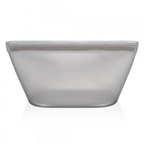 Gray Reusable Silicone Zip Top Food Storage Bowl [Set of 2 Small & Big] (40 Set/Lot)