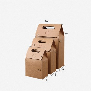 Brown Kraft Gift Handle Wrapping Decorative Treat Boxes (Set of 3 Sizes) (450 Boxes/Lot)