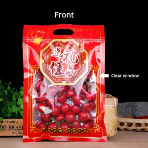 Red & Clear Window Flat Plastic Ziplock Top Filling with Die-Cut Handle 24cm x 36cm (9.25inches x 14inches) (500 Bags/Lot)