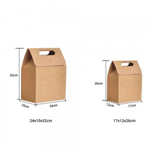 Brown Kraft Gift Handle Wrapping Decorative Treat Boxes (Small and Medium Size) (100 Boxes/Lot)