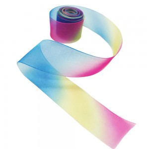 Sheer Rainbow Organza Ribbon with Blue Yellow and Pink Hues for Gift Wrapping and Decorations (0.75 inches x 1 Yard) [800 Rolls/Lot]