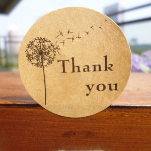 Thank You and Dandelion Printed Kraft Labels for Baked Goods Packaging (1.25 inches Diameter) [18000 Stickers - 1500 Sheets/Lot]