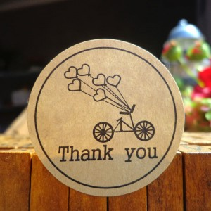 Heart Balloons and Bicycle with Thank You Printed Kraft Labels for Wedding Favors (1.5 inches Diameter) [16800 Stickers - 1400 Sheets/Lot]