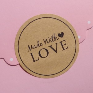 Made with Love Black Printed Kraft Labels for DIY Favors and Baked Treats (1.5 inches Diameter) [18000 Stickers - 1500 Sheets/Lot]