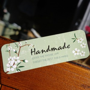 Handmade White Flower Pattern Green Labels for DIY Hand Made Items (1.75 inches x 0.5 inches) [18000 Stickers - 1500 Sheets/Lot]