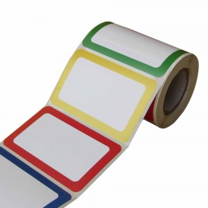 White Labels with Mixed Color Borders as Printing Labels (2.25 inches x 3.5 inches) [12000 Labels/Lot]