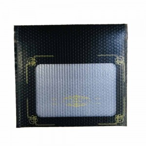 Black Bubble Mailer Envelope with Transparent Window and Gold Print Designs (15.75 inches x 12 inches + 2.25 inches Fold Over) [800 Bags/Lot]