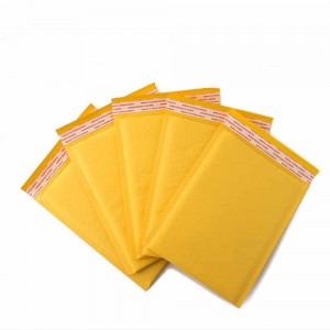 Padded Kraft Yellow Bubble Mailers for Shipping (5 inches x 8.25 inches + 1.5 inches Fold Over) [380 Bags/Lot]