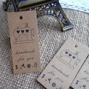 """""""Handmade for You"""" Brown Tag with Sewing Machine Print (2.25 inches x 1 inche) [1960 Tags/Lot]"""