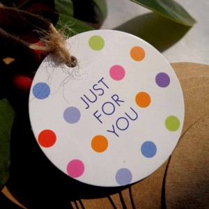"""Just for You"" Printed Colorful Polka Dot Tag for Party Favors and Gifts (1.5 inches) [2130 Tags/Lot]"