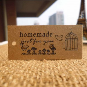 """Homemade Just for You"" Printed with Nature Design for Handcrafted Items (2.25 inches x 0.75 inches) [100 Tags/Lot]"
