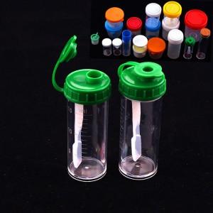 "Green Plastic Sterile Fecal Specimen Sample Collector Cups (0.75""x2.5"") - 750 Bottles/Lot"