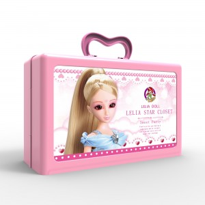 Lelia Sweet Party Star Closet Party Dress-Up Doll with Designable Sticker Carrying Storage Case (1 Playset/Lot)