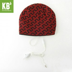 0ae5ac1956d KBB Red Black Zipper Line Design Headphone Beanie Hat (3 Hats Lot)