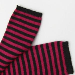 KBB Soft Black & Red Striped Pattern Winter Fingerless Gloves (3 Gloves/Lot)