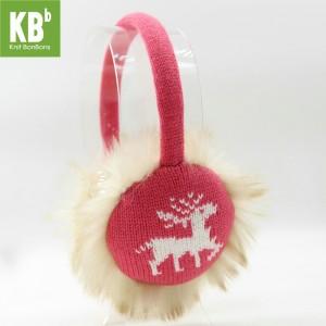 KBB Pink Earmuffs with White Reindeer Design (3 Earmuffs/Lot)