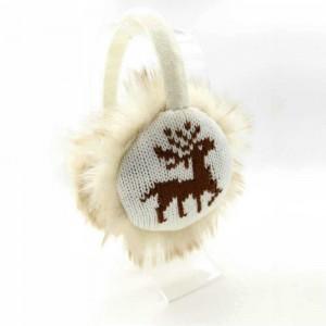 KBB White Earmuffs with Brown Reindeer Design (3 Earmuffs/Lot)