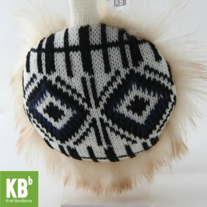 KBB White & Black Line Block Design Earmuffs (3 Earmuffs/Lot)
