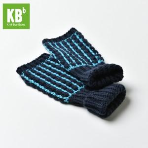 KBB Navy Blue & Turquoise Stripe Design Winter Fingerless Gloves (3 Gloves/Lot)