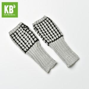 KBB Light Gray & Black Stripe Design Winter Fingerless Gloves (3 Gloves/Lot)