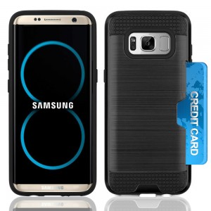 Samsung Galaxy S8 Plus / S8 Edge Slim PC Metal Brushed Phone Case with Credit Card Slot Black
