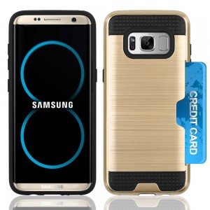 Samsung Galaxy S8 Plus / S8 Edge Slim PC Metal Brushed Phone Case with Credit Card Slot Gold
