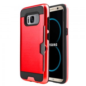 Samsung Galaxy S8 Plus / S8 Edge Slim PC Metal Brushed Phone Case with Credit Card Slot Red
