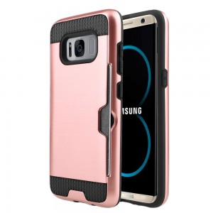 Samsung Galaxy S8 Plus / S8 Edge Slim PC Metal Brushed Phone Case with Credit Card Slot Rose Gold