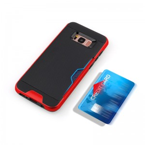 Samsung Galaxy S8 Plus / S8 Edge Hybrid TPU Full Body with Credit Card Slot Case Red