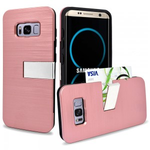Samsung Galaxy S8 Plus Hybrid Metal Brushed Protective Case with Kickstand and Credit Card Slot Case Rose Gold